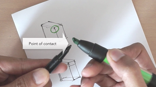 Broad nib point of contact ID Sketching with Pantone Tria