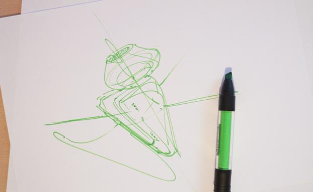 Earphone Sony Broad nib ID Sketching with Pantone Tria