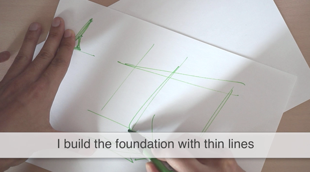 Foundation with thin lines Broad nib ID Sketching with Pantone Tria