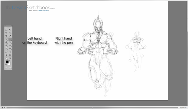 15 Left hand on keyboard - Right hand sketching with the pen - Concept art