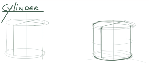 Draw a cylinder - Give roundness to your edges and play with line - Industrial design sketchesweight