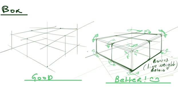 Draw box - Give roundness to your edges and play with line weight - Industrial design sketchesweight c