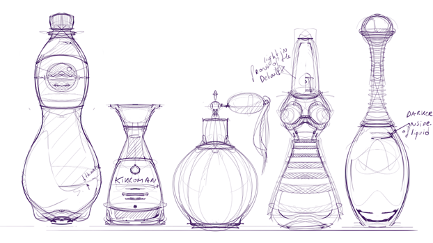 How to dra a Bottle soya sauce perfume bottle- Industrial design sketching