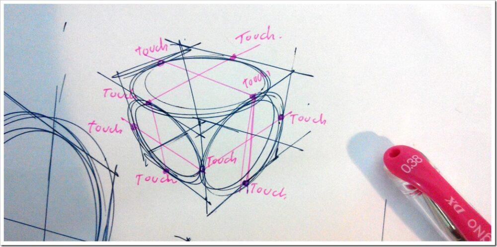 Pen signo Mitsubishi -the design sketchbook test ellipse cube