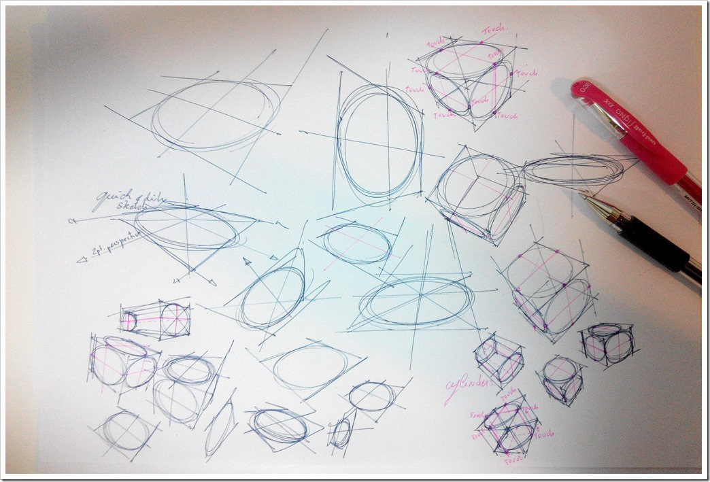 Pen signo Mitsubishi -the design sketchbook test ellipse perspective cube