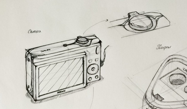 Camera product design life drawing  Good perspective construction.png