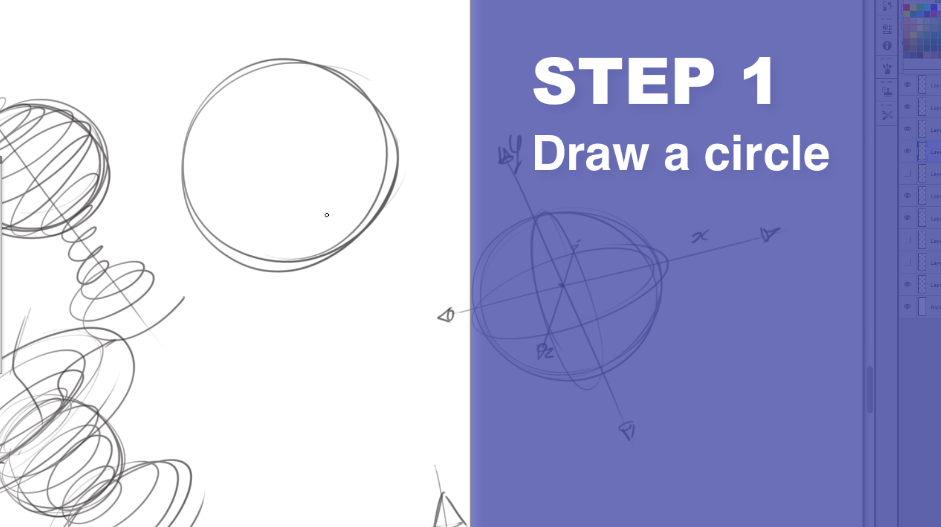 How to draw a sphere - The Design sketchbook Step 1