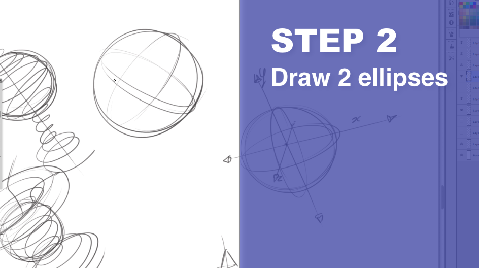 How to draw a sphere - The Design sketchbook Step 2
