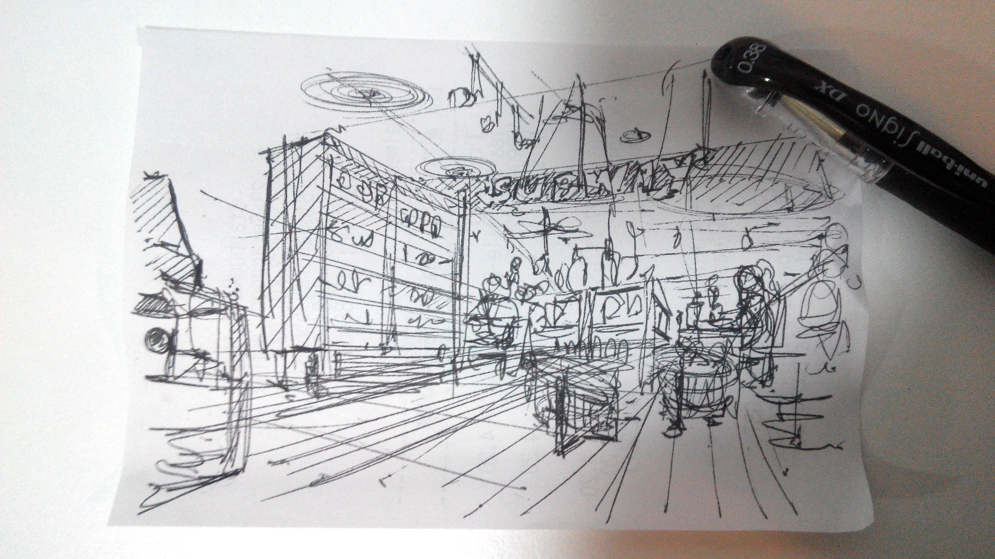 Receipt sketch in a cafe at starbuck - the design sketchbook a