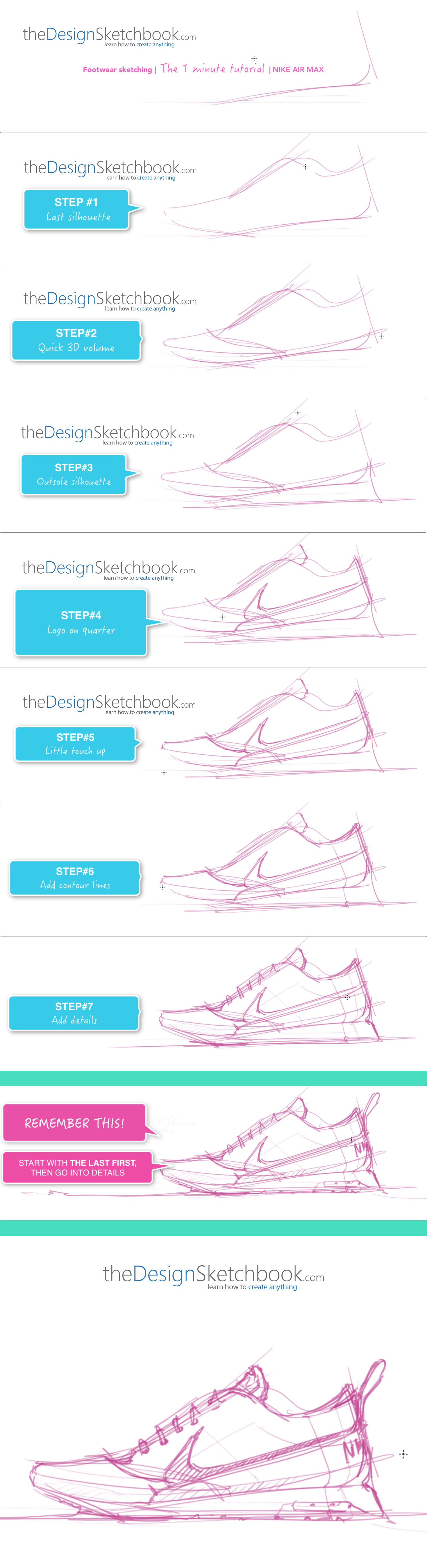 How to draw the Nike Air Max , 1min sketching tutorial