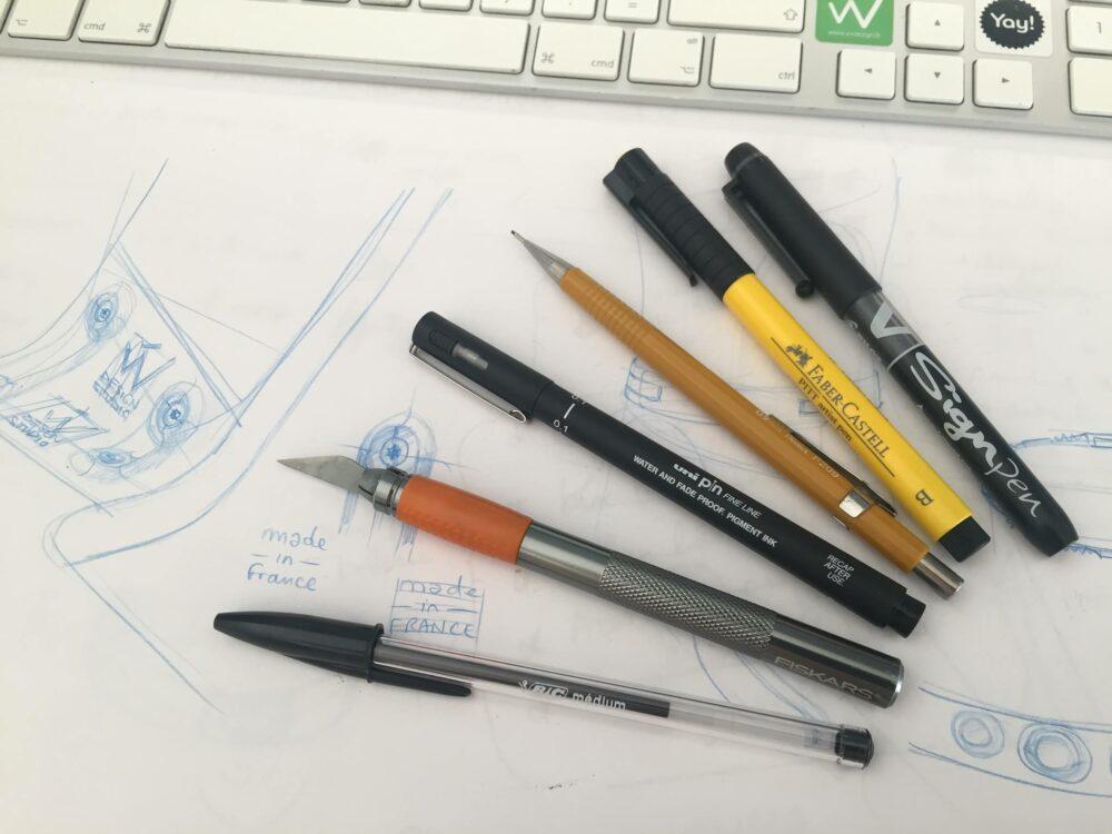 Vincent Vedie Sketching pen favourite - Pentel P209 pen with 0,9 blue leads - pantone markers - Bic black ball pen or a stabilo black stylist.jpg