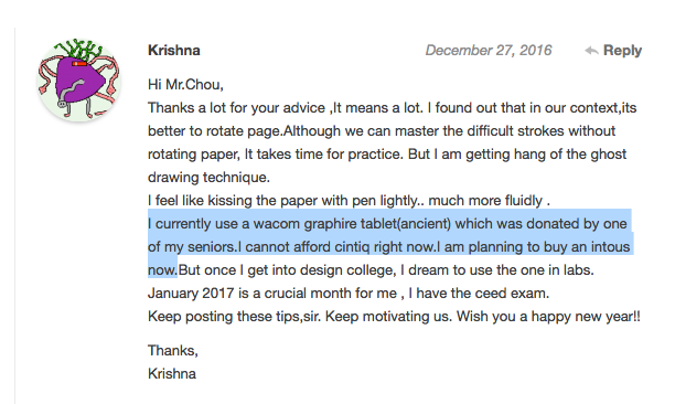 Krishna comment on Wacom Graphire tablet and Wacom Ituos graphic tablet upgrade.png