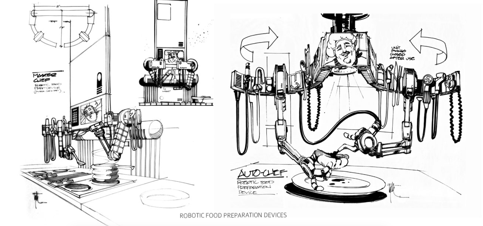 Edward Eyth Design sketching Back to the future II Robotic Food Preparation devices