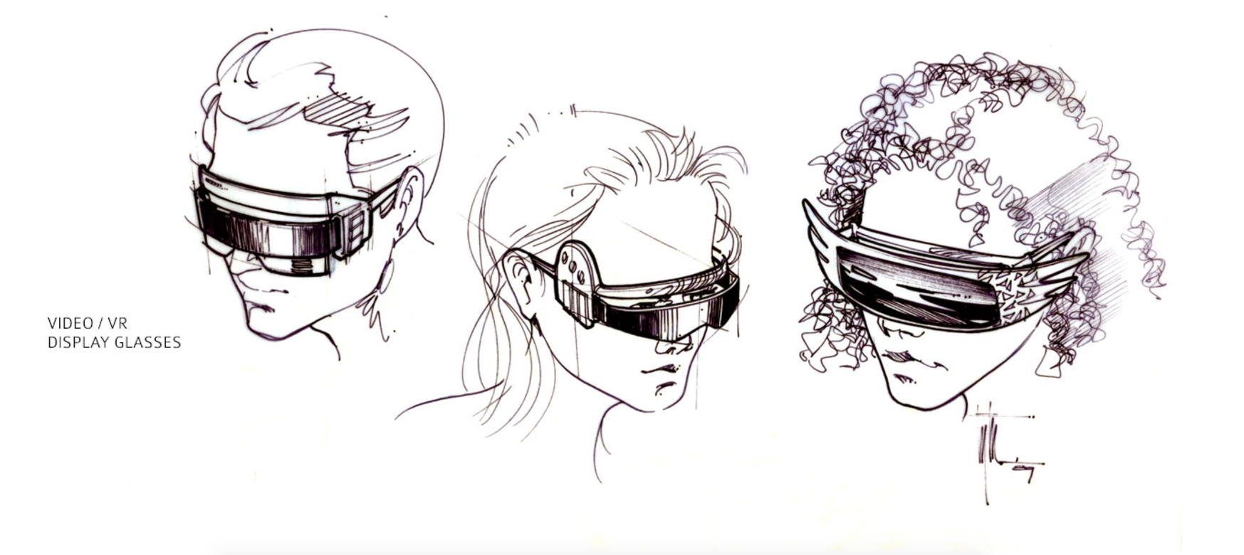 Edward Eyth Design sketching Back to the future II Video VR Display glass