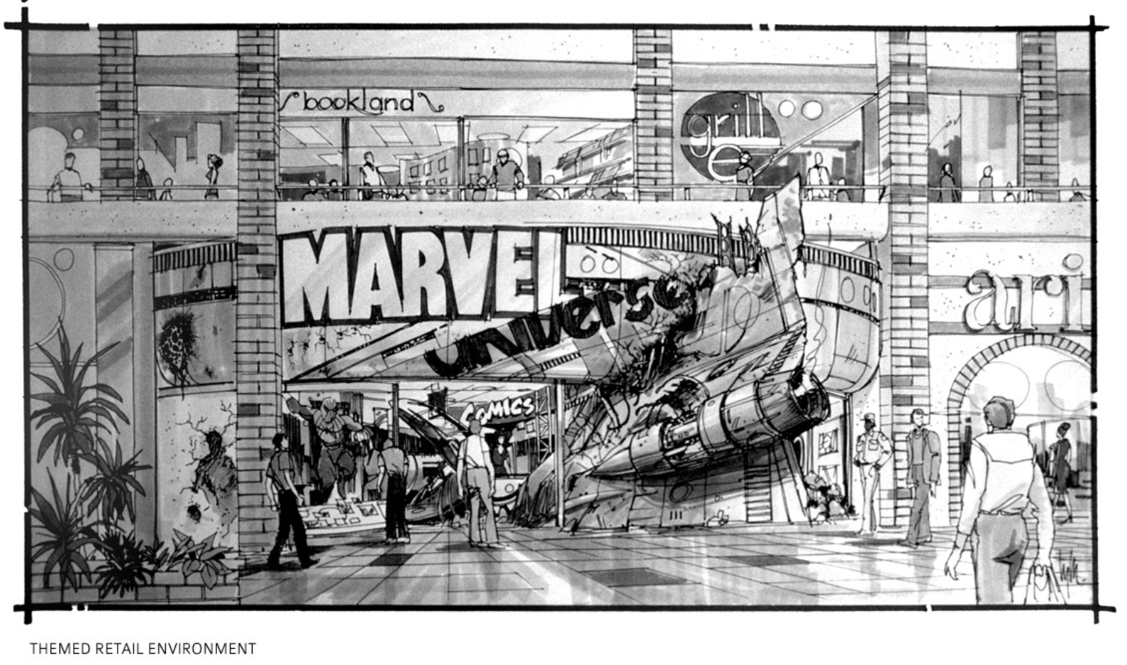 Edward Eyth Design sketching Marvel Universe Theme retail environment