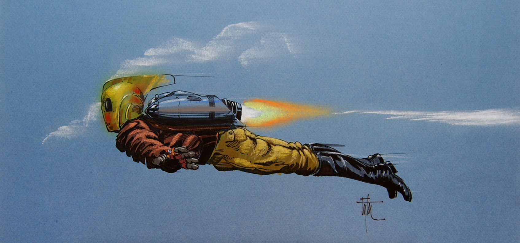 Edward Eyth Design sketching Rocketeer side view flying