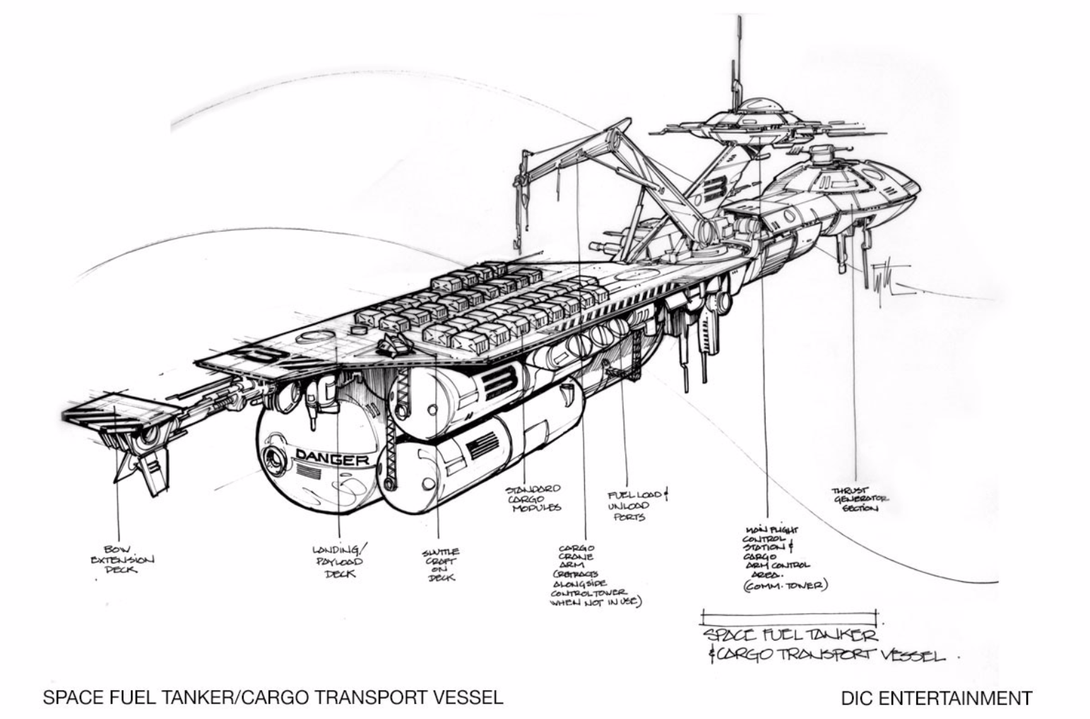 Edward Eyth Design sketching Space fuel Tanker Cargo Transport Vessel