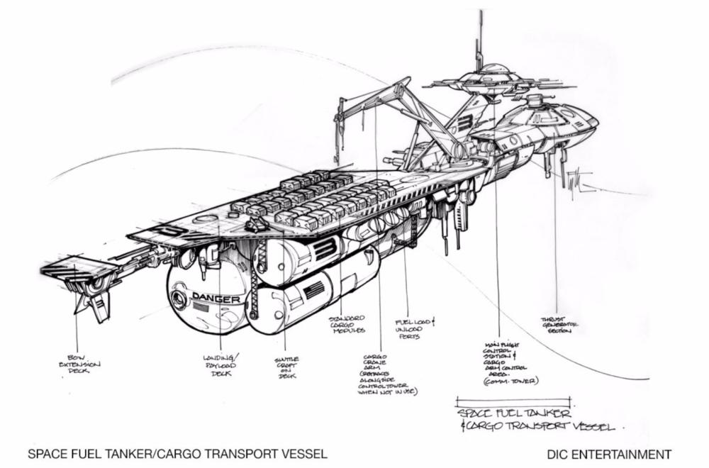 Edward Eyth Design sketching Space fuel Tanker Cargo Transport Vessel