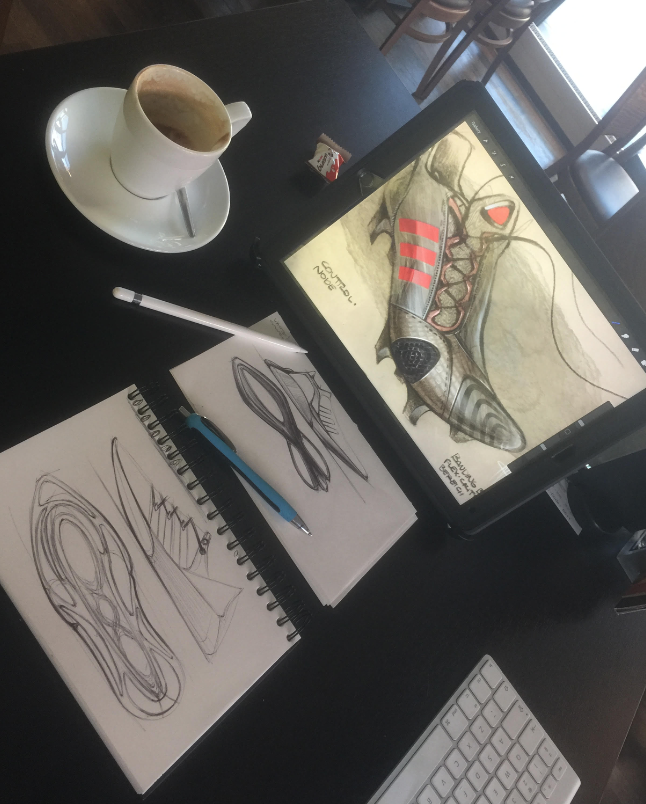 Noah Sussman Sports Product designer desk ipad pro sketching footwear