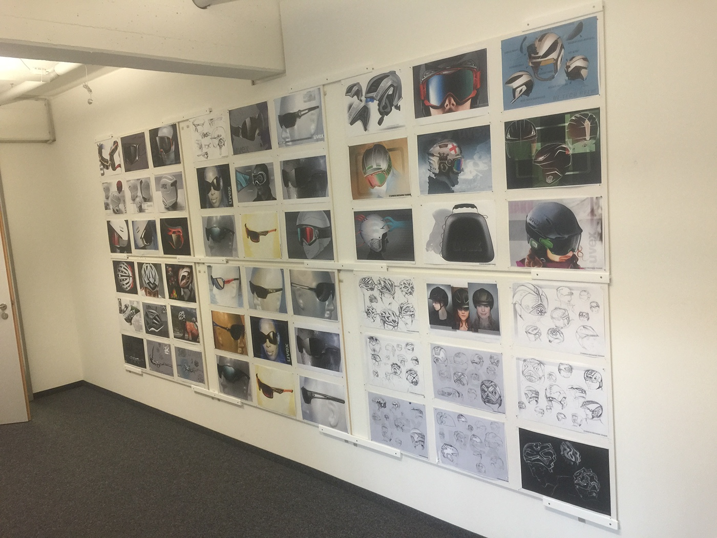Noah Sussman Sports Product designer sketch wall at design office helmet Uvex sports