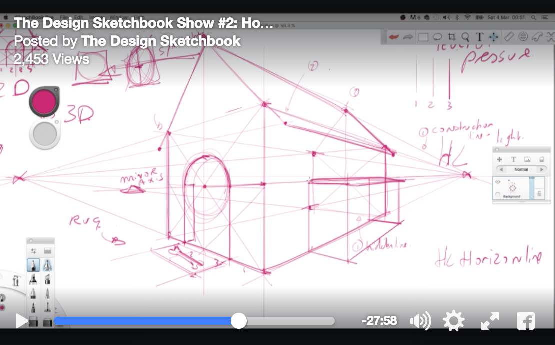Design Sketchbook Live #2 | How to draw in perspective!