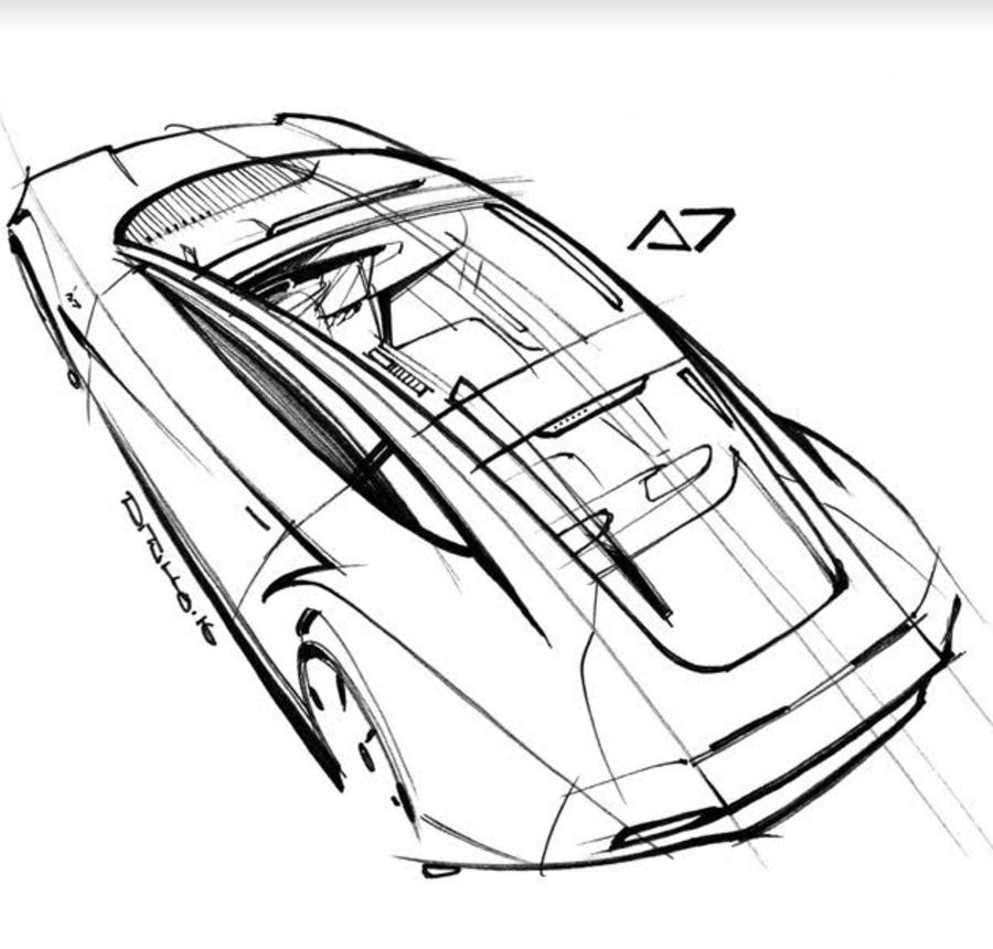 Michael DiTullo Design Sketching Sketchbook Car Design top view
