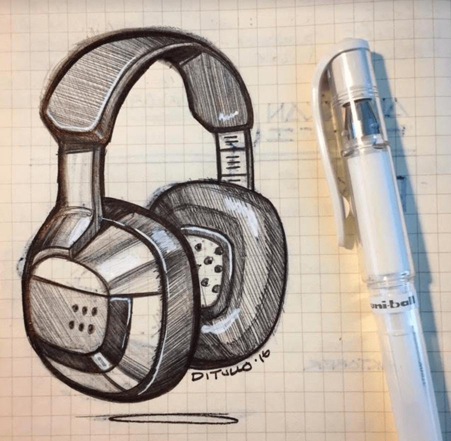 Michael DiTullo Design Sketching Sketchbook Polk sound hemlmet