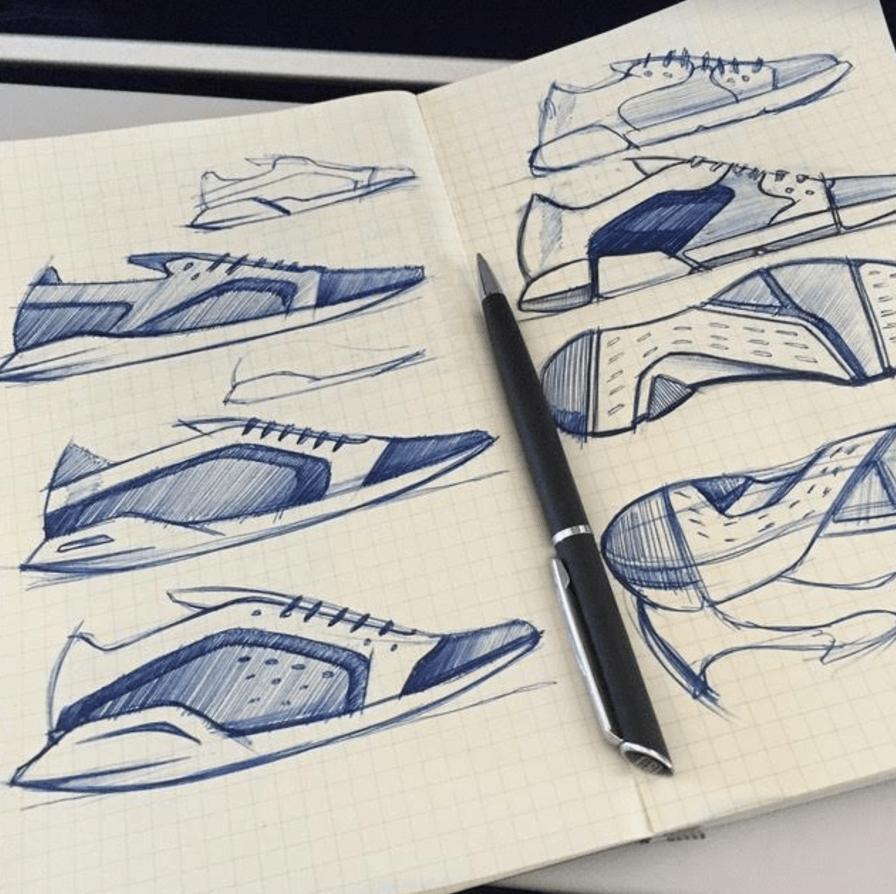 Michael DiTullo Design Sketching Sketchbook Sneakers footwear blue ball point pen drawing.png
