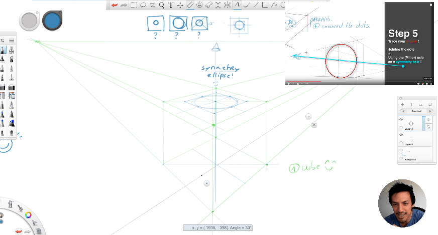 How to draw a box with a hole inside in perspective ? TIP 208
