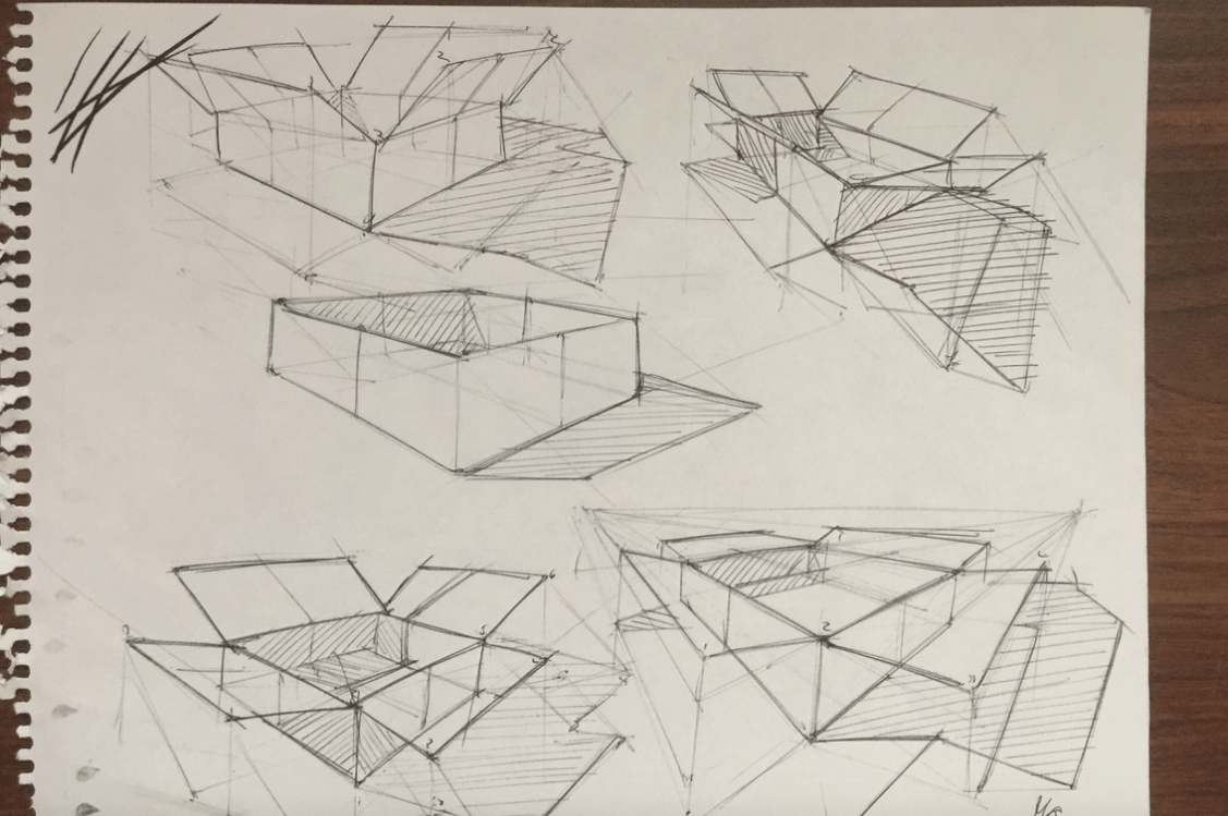 Box study with projected shadow on ground