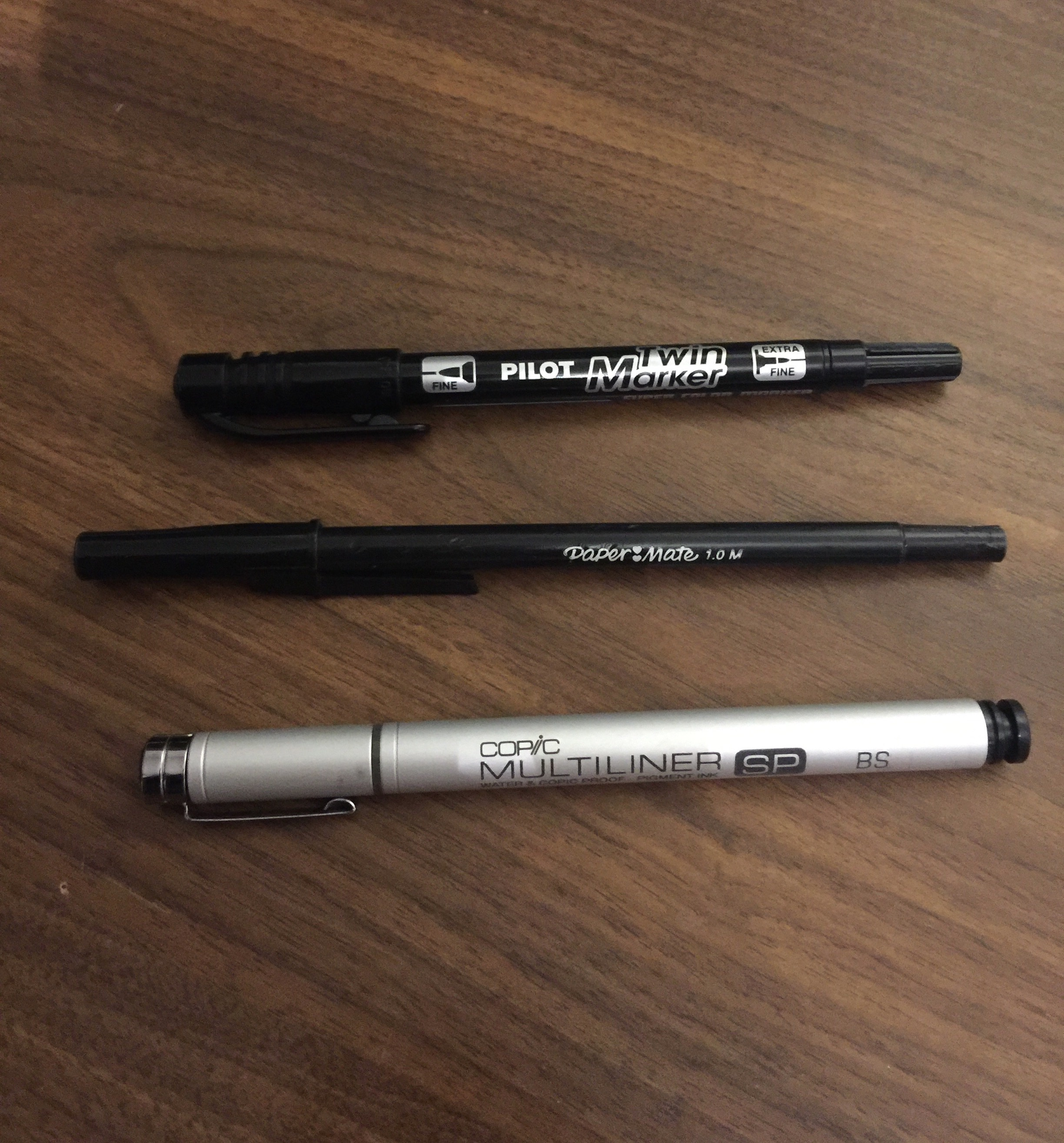 Kasra Favourite tools: Pilot Twin Marker, Papermate ball point pen, Copic Multiliner SP
