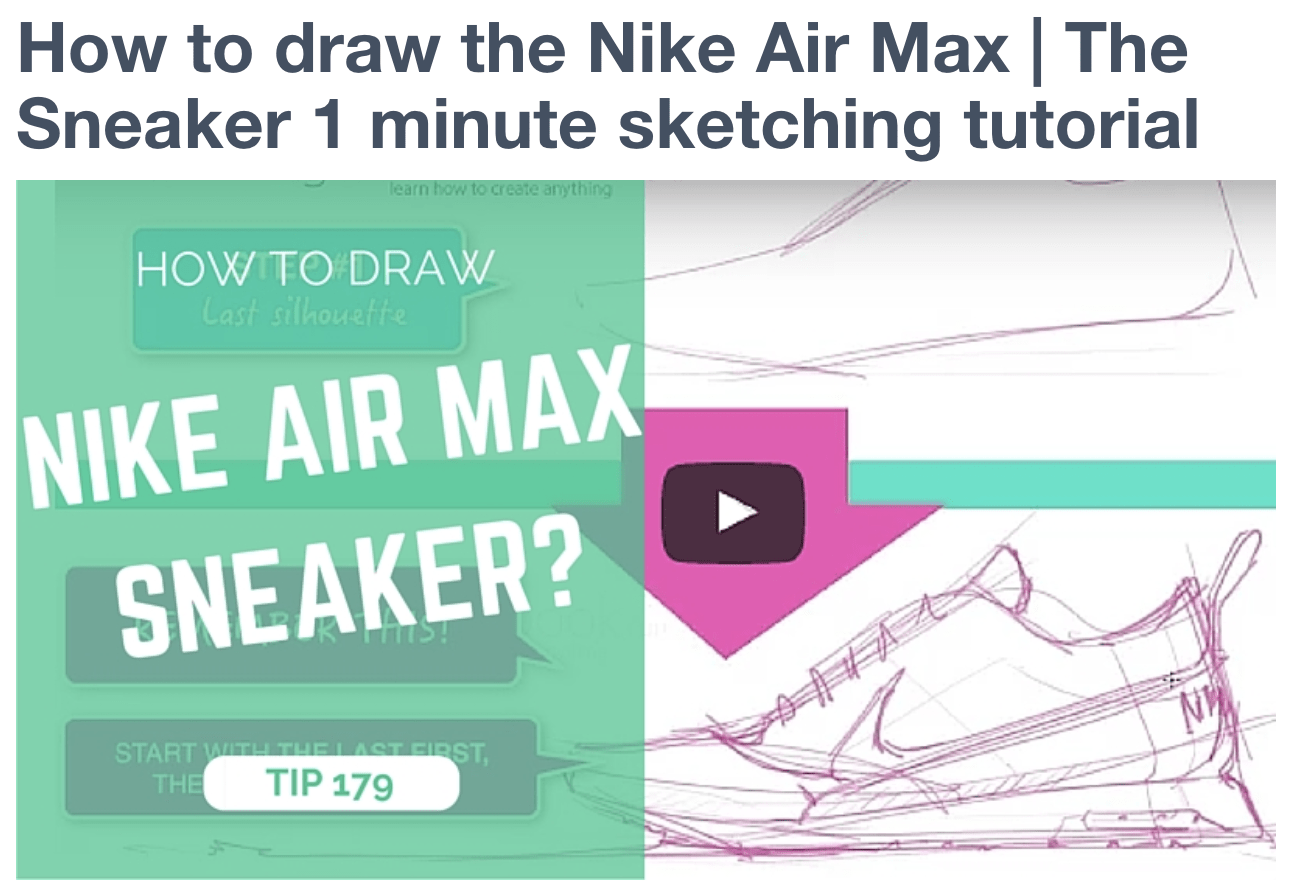 How to draw the Nike Air Max | The Sneaker 1 minute sketching tutorial Preview