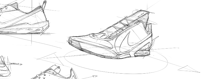 sneaker design Sketching Tip 33 Set up a scene with minimum lines