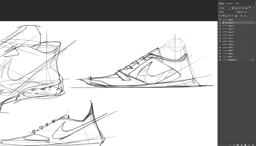 sneaker design Sketching Tip 5 Add a quick pattern