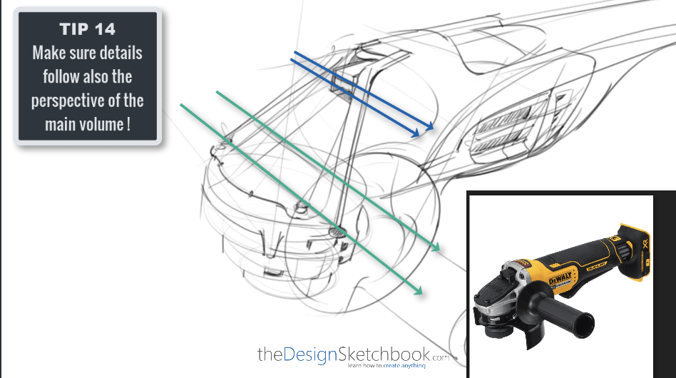 Sketching TIP 14 Make sure details follow also the perspective of the main volume