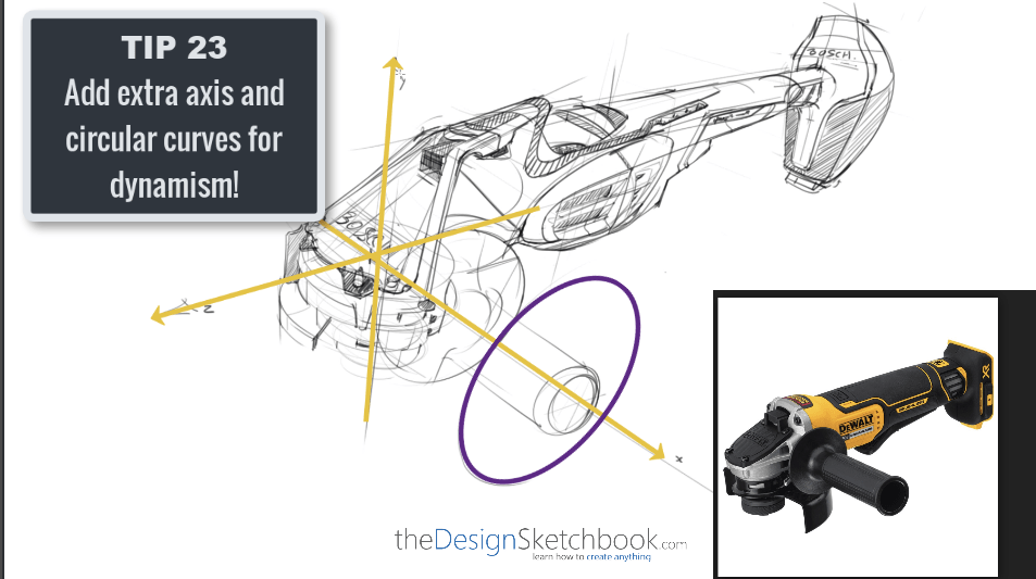 Sketching TIP 23 Add extra axis and circular curves for dynamism