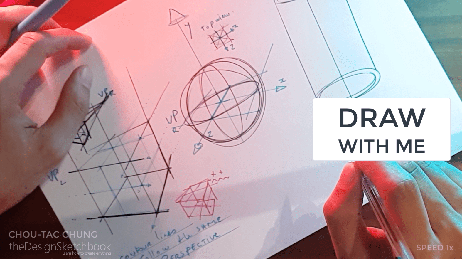 How to draw the 3 basic forms of design sketching cube sphere cylinder l