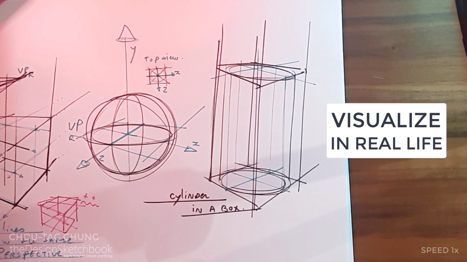 How to draw the 3 basic forms of design sketching cube sphere cylinder p