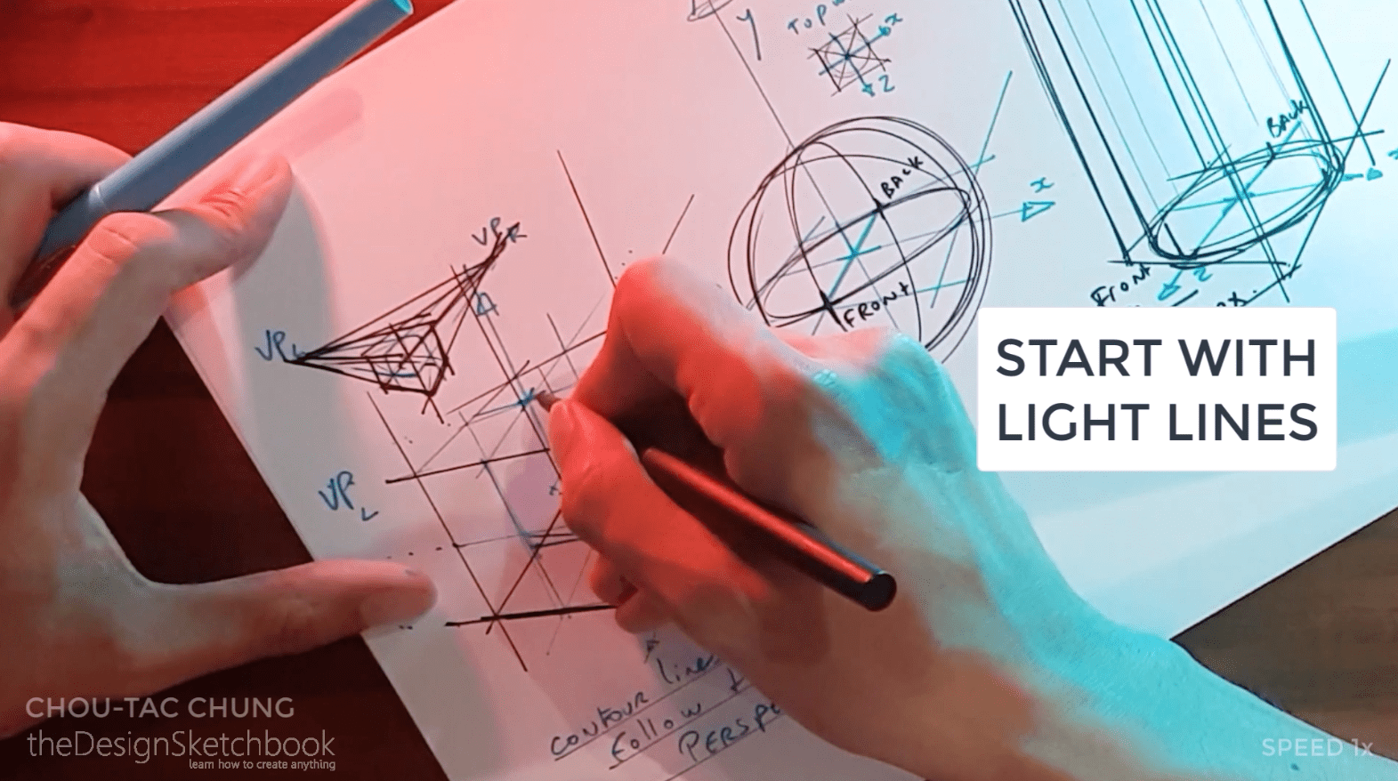 How to draw the 3 basic forms of design sketching cube sphere cylinder r