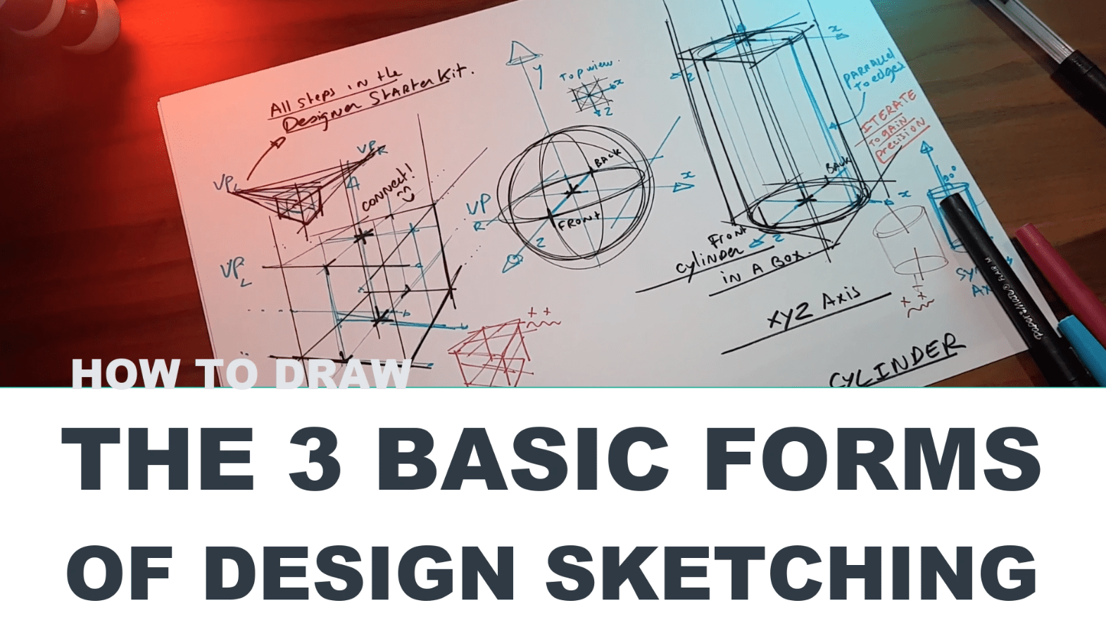 How to draw the 3 basic forms of design sketching cube sphere cylinder