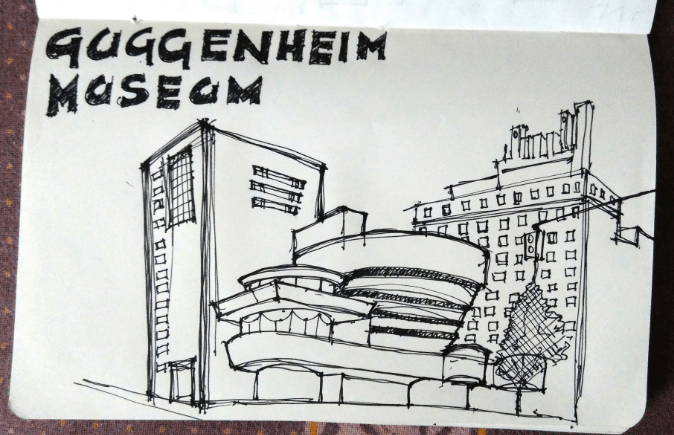 Saad – Guggenheim museum, New York City urban sketching with perspective.png