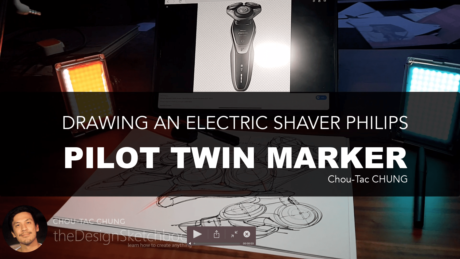 Sketching an electric shaver PHILIPS with the pilot twin marker pen - the design sketchbook - chung chou tac a1