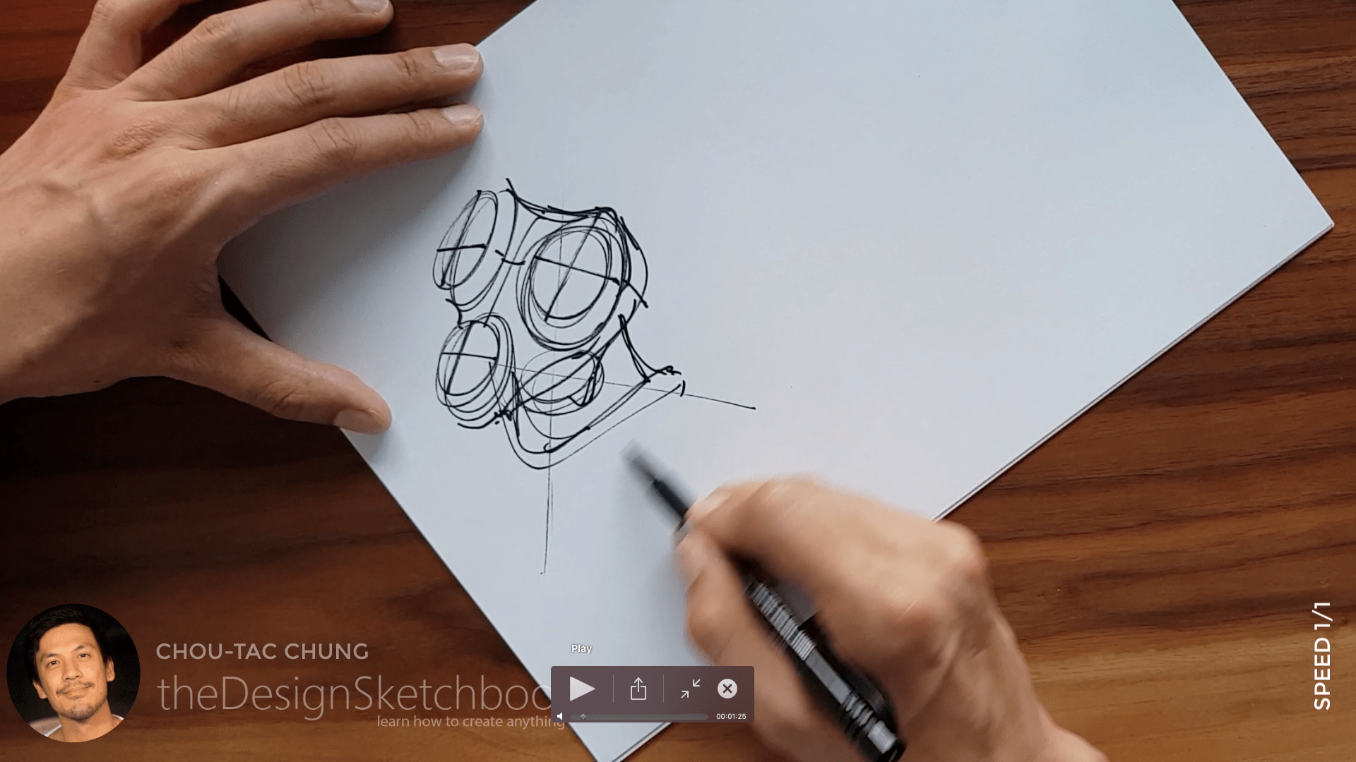 Sketching an electric shaver PHILIPS with the pilot twin marker pen - the design sketchbook - chung chou tac a5