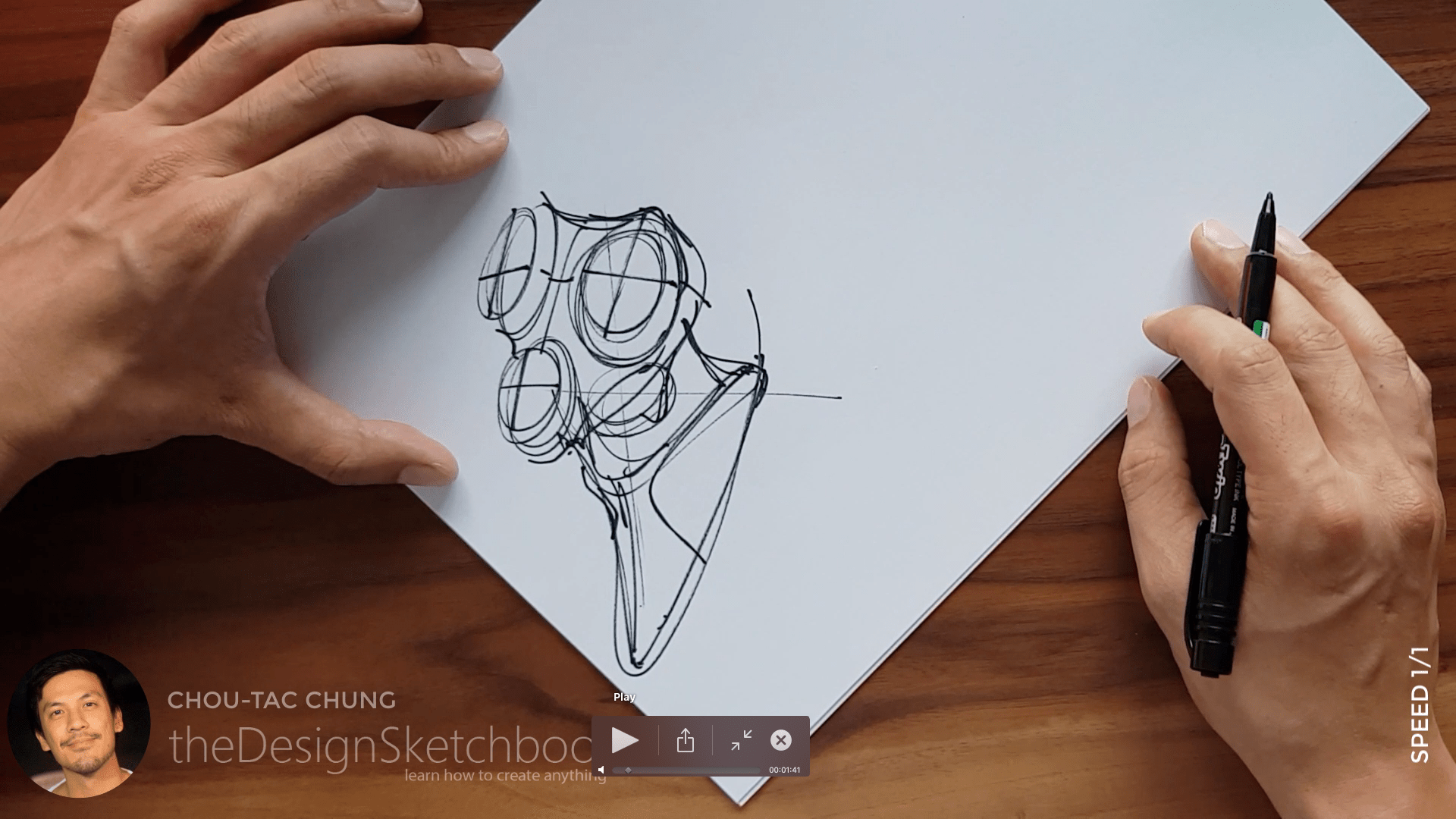 Sketching an electric shaver PHILIPS with the pilot twin marker pen - the design sketchbook - chung chou tac a7