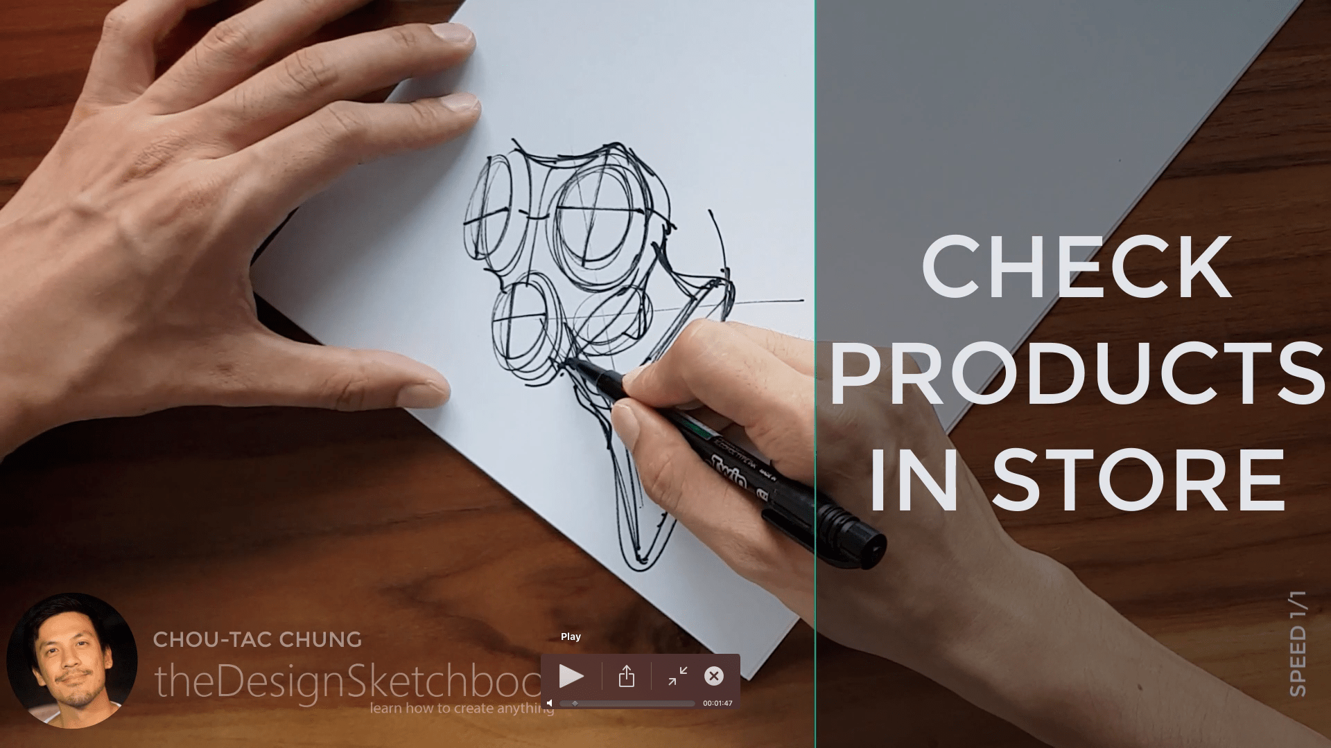 Sketching an electric shaver PHILIPS with the pilot twin marker pen - the design sketchbook - chung chou tac a8