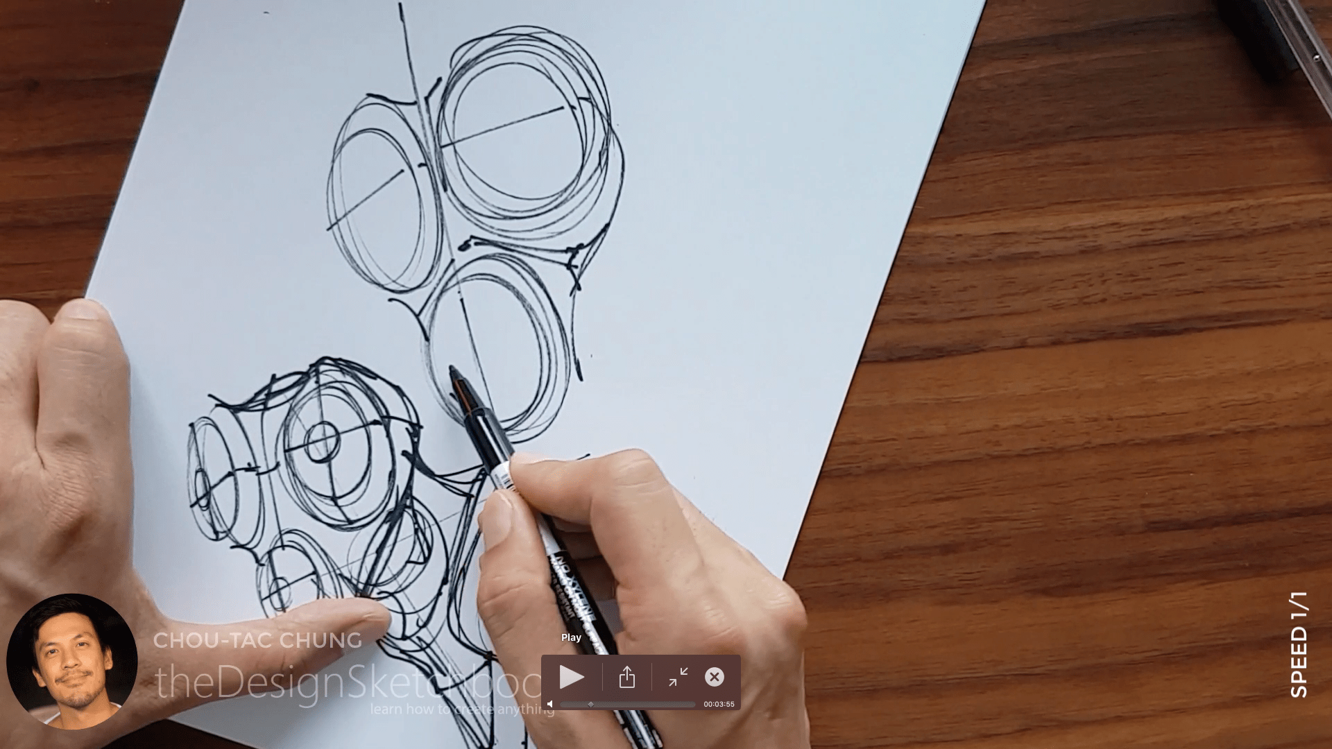 Sketching an electric shaver PHILIPS with the pilot twin marker pen - the design sketchbook - chung chou tac b7
