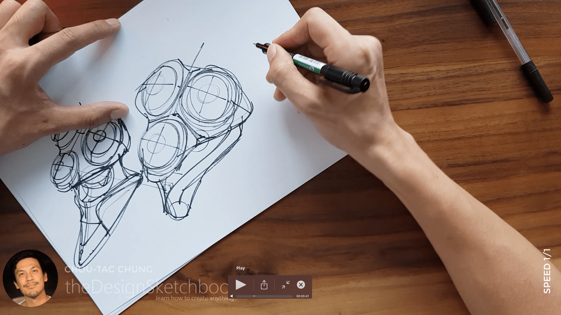 Sketching an electric shaver PHILIPS with the pilot twin marker pen - the design sketchbook - chung chou tac c7
