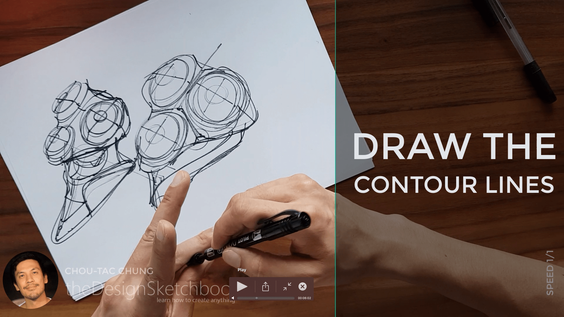 Sketching an electric shaver PHILIPS with the pilot twin marker pen - the design sketchbook - chung chou tac c9