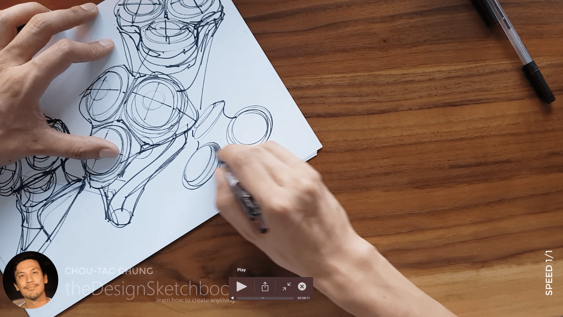 Sketching an electric shaver PHILIPS with the pilot twin marker pen - the design sketchbook - chung chou tac d6
