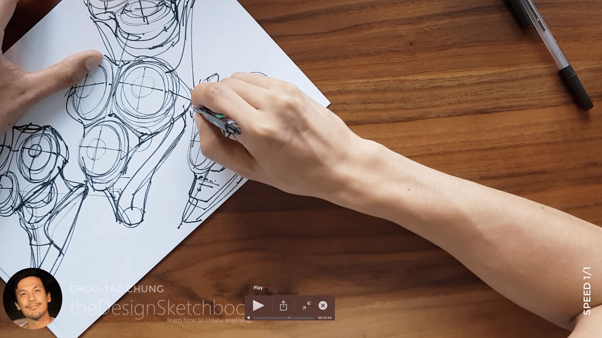 Sketching an electric shaver PHILIPS with the pilot twin marker pen - the design sketchbook - chung chou tac e7